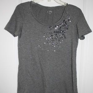 Loft gray tee with floral embellishment at collar